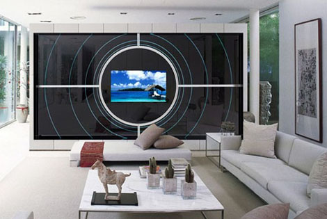 Tv mirror wall unit multimedia mirror furniture by adnotam for Glass wall units for living room