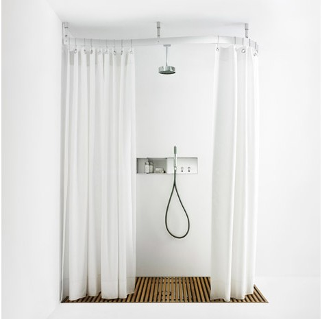 Agape Design Shower Curtain Rail Cooper Corner From Curved Railing
