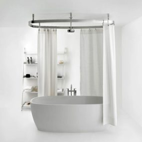 Shower Curtain Rail from Agape Design – Cooper curved railing is configurable