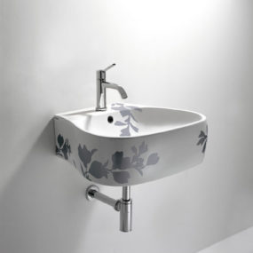 Bathroom Printed Floral Design – Pear sink, toilet and bidet by Agape