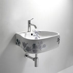 Bathroom Printed Floral Design – Pear sink, toilet and bidet by Agape
