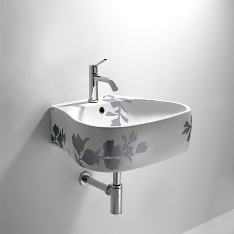agape pear sink 337 Bathroom Printed Floral Design   Pear sink, toilet and bidet by Agape