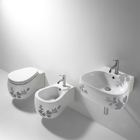agape pear sink toilet bidet 338 Bathroom Printed Floral Design   Pear sink, toilet and bidet by Agape