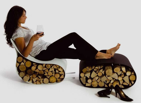 Modern Firewood Rack – Firewood Storage as Chair by AK47