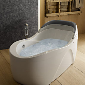 Whirlpool Tub from Albatros – the Thalia Oval airpool tub with back lumbar support