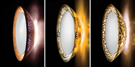 alchemy illuminated mirrors Illuminated Art Mirrors by Alchemy Glass & Light   new mirror designs inspired by a solar eclipse