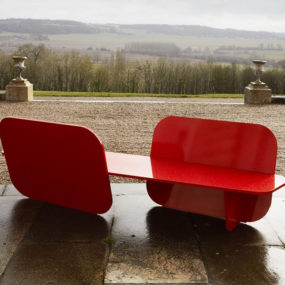 Aluminium Red Garden Bench by La Chance