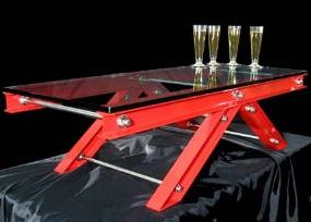 Bridge cocktail table by Andrew James – structurally elegant