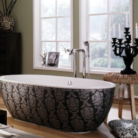 Leather Skirting Bathtub from Aquamass – Stone One luxe bathtubs