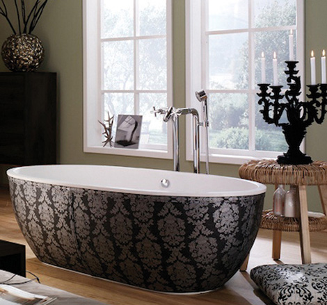 aquamass bathtub stone one 2 Leather Skirting Bathtub from Aquamass   Stone One luxe bathtubs