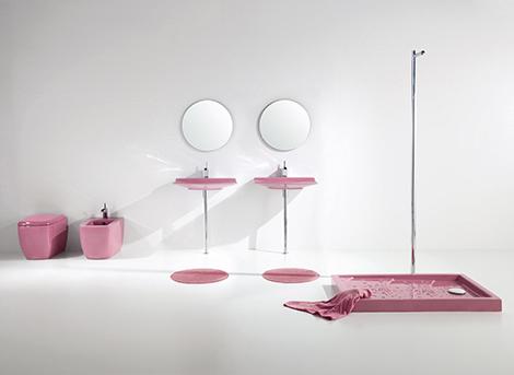 Pink Bathroom Fixtures – 'Lilac' Bathroom Sets by Aquaplus
