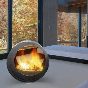 Round Fireplaces – mobile fireplace design Eclypsya by Arkiane
