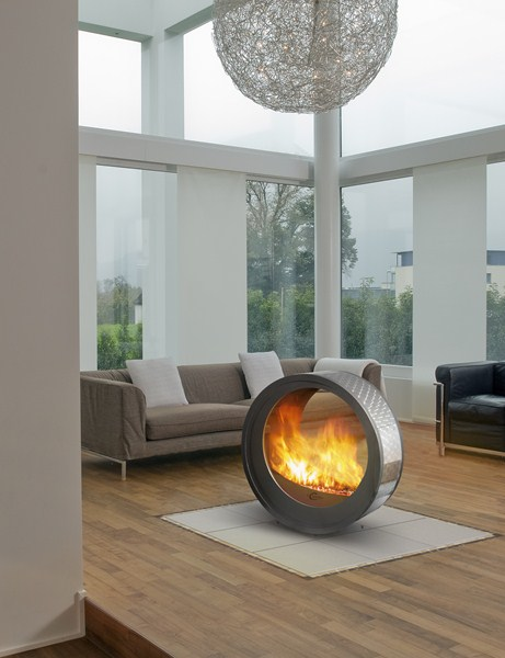 Round Fireplaces – mobile fireplace design Eclypsya by Arkiane