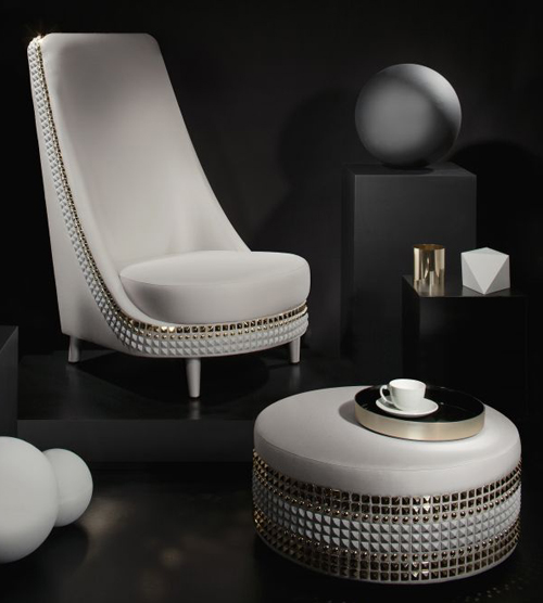 armchair salon lee broom 1 Dazzling Furniture by Lee Broom   studded upholstery