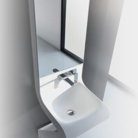 Wash Basin Designs – new Wave washbasin by ArtCeram with integrated mirror cabinet