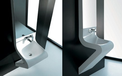 artceram wash basin designs 3 Wash Basin Designs   new Wave washbasin by ArtCeram with integrated mirror cabinet