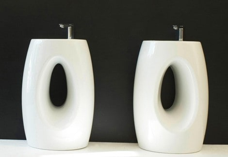 Artceram washstand vanity Hall in white ceramic