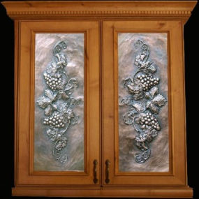 Art metal panels from Artful Inserts – the cabinet door panels