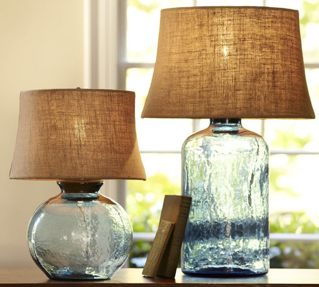 colored glass table lamps pottery barn clift 1 thumb 630x567 9986 Colored Glass Table Lamps from Pottery Barn   Clift collection