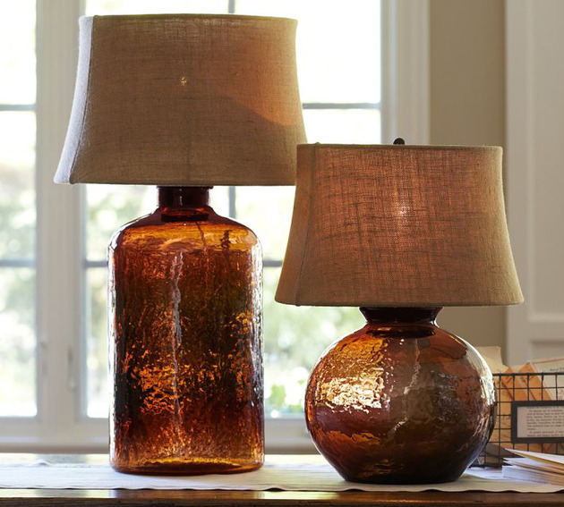 colored glass table lamps pottery barn clift 2 thumb 630x567 9988 Colored Glass Table Lamps from Pottery Barn   Clift collection