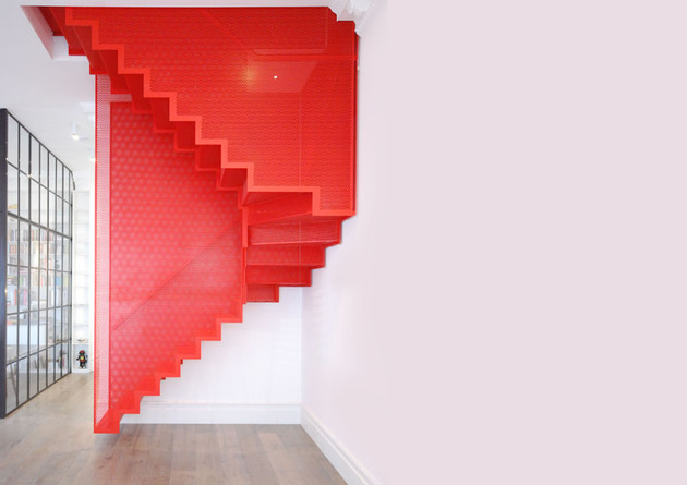 amazing bespoke red hot perforated steel suspended staircase diapo 2 specs thumb 630x445 17295 Amazing Bespoke Red Hot Perforated Steel Suspended Staircase by Diapo