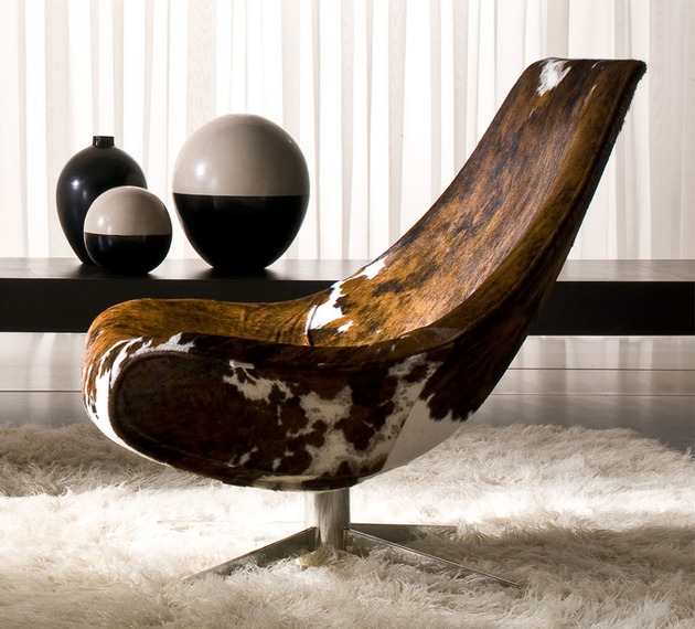 cowhide lounge chair by italy dream design oyster 1 thumb 630x570 16295 Cowhide Lounge Chair by Italy Dream Design   Oyster