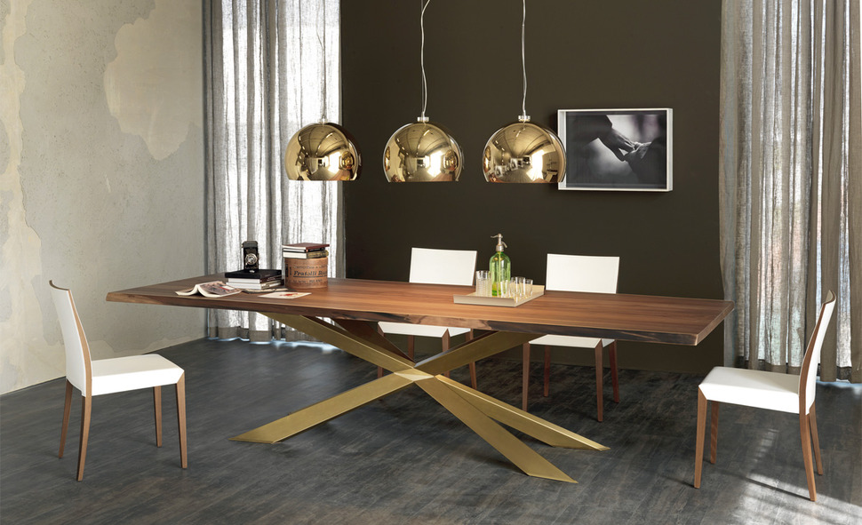 . Dining Table with Irregular Solid Wood Edges by Cattelan Italia