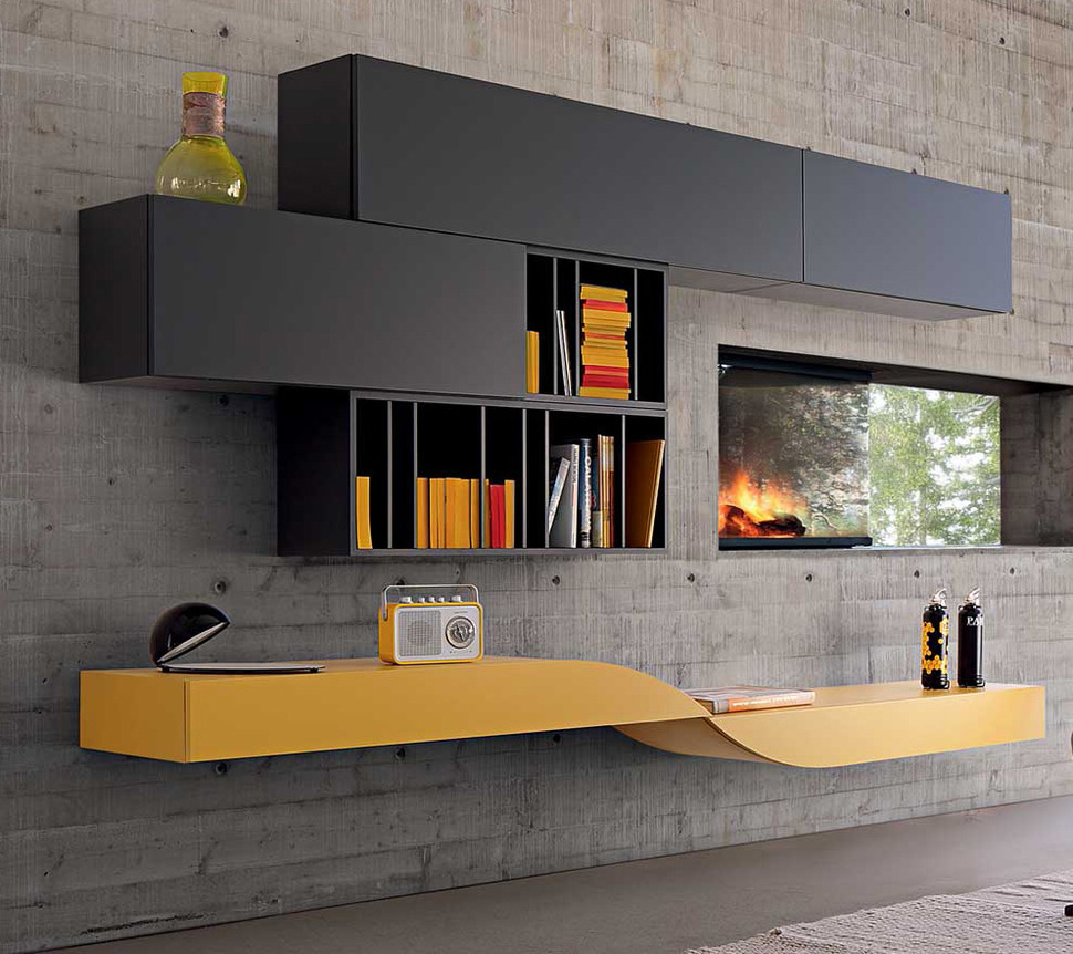 intralatin contemporary modular wall unit from roche bobois. Black Bedroom Furniture Sets. Home Design Ideas