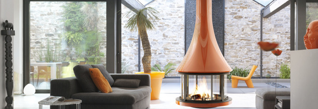 round suspended fireplace with glossy burnt orange finish 2 thumb 630x216 17488 Round Suspended Fireplace with Glossy Burnt Orange Finish