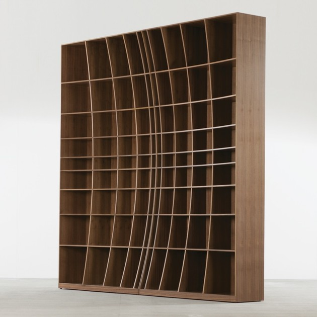 two concave bookcases joined thumb 630x630 16210 Sculpturally Creative Concave Bookcase by Joined + Jointed