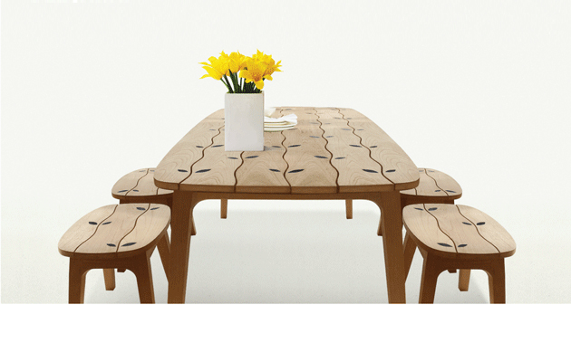 wood inlaid dining table set for indoors and outdoors by deesawat 1 thumb 630x379 16513 Wood Inlaid Dining Table Set for Indoors and Outdoors by Deesawat