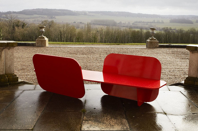 aluminium red garden bench by la chance 1 thumb 630x419 21934 Aluminium Red Garden Bench by La Chance