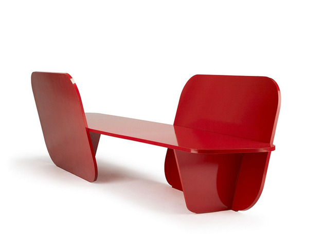 aluminium red garden bench by la chance 2 thumb 630x472 21936 Aluminium Red Garden Bench by La Chance