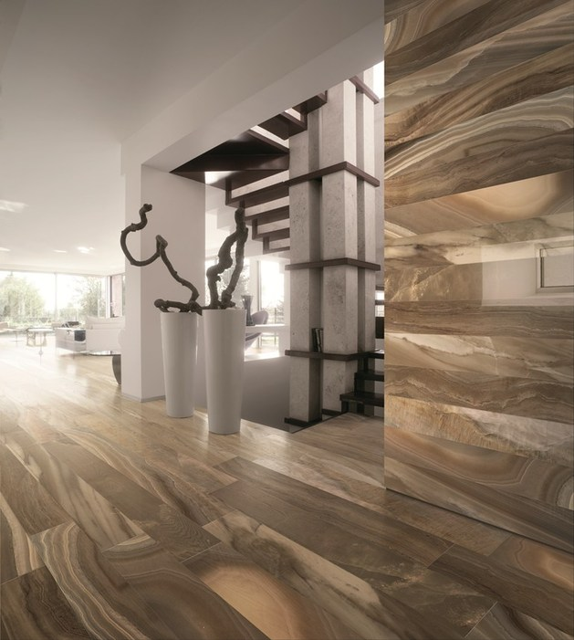 Dramatic Porcelain Floor Tile With Marble Effect By