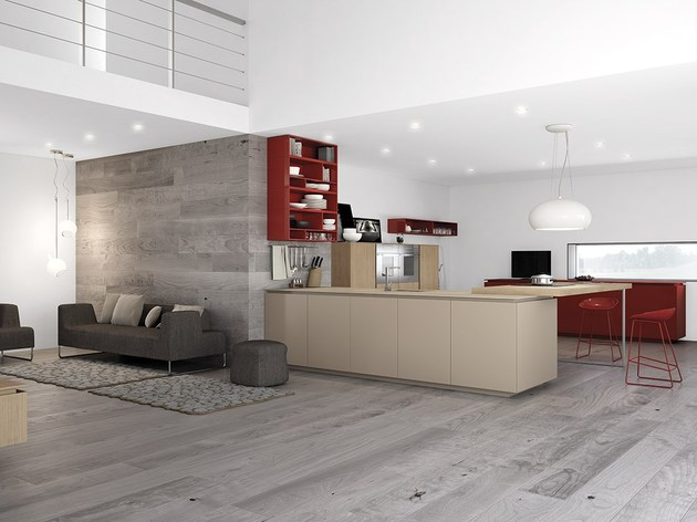 minimalist kitchen with red accents by comprex 2 thumb 630x472 20275 Minimalist Kitchen with Red Accents by Comprex