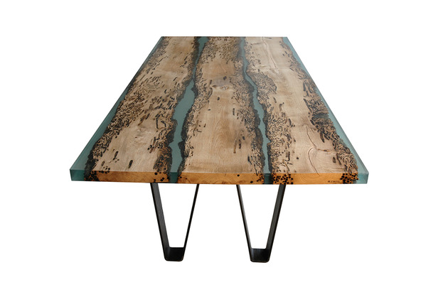 poetic wood and resin boat inspired dining table 1 thumb 630x418 17922 Poetic Dining Table Made of Briccola Wood