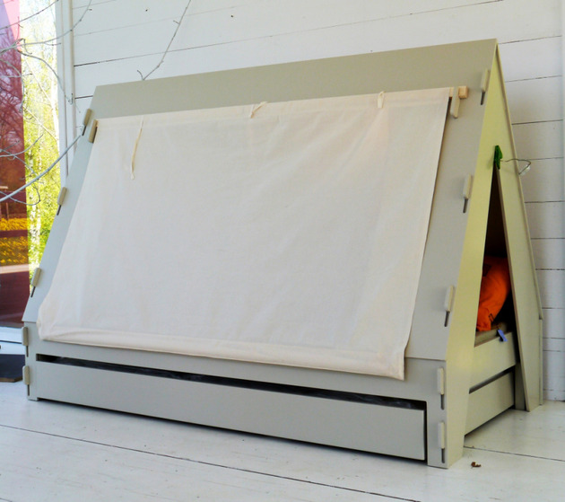 trundle bed children creatively closes private tent with light 2 closed tent thumb 630x559 21616 Trundle Bed for Children Creatively Closes into Private Tent with Light