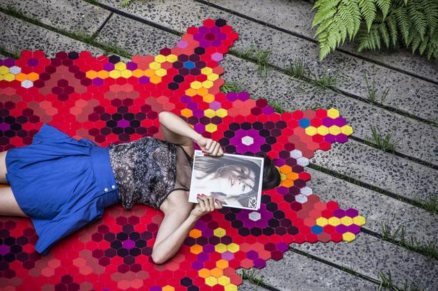colorful huichol rug by elissa medina 2 thumb 630x419 24492 Colorful Huichol Rug by Elissa Medina