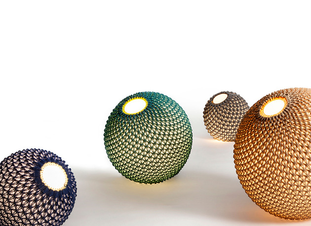 knitted textural modern light traditional roots 2 floor globes thumb 630x459 30108 Knitted is a Textural Modern Light with Traditional Roots