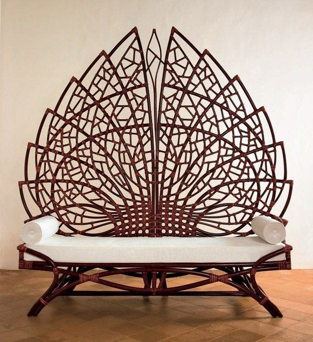 Upholstered Rattan Bench By Dolcefarniente