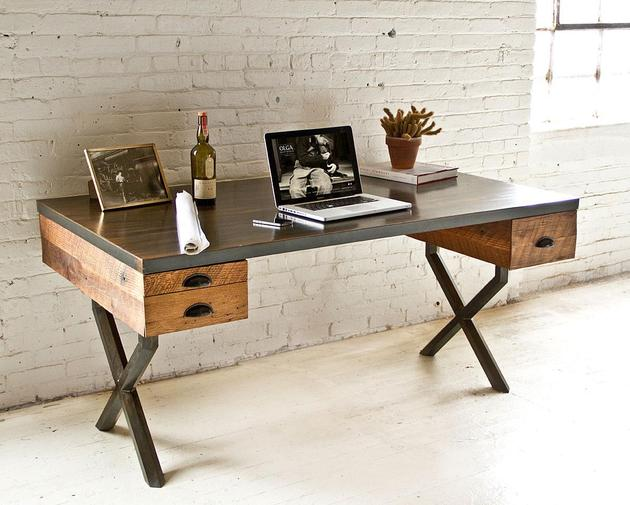steel reclaimed wood walter desk richard velloso 1 thumb 630xauto 40413 Steel and Reclaimed Wood Walter Desk by Richard Velloso