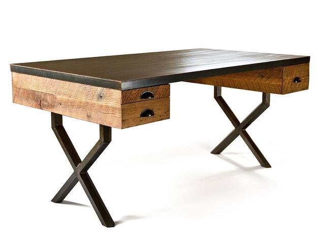 steel reclaimed wood walter desk richard velloso 2 thumb 630xauto 40415 Steel and Reclaimed Wood Walter Desk by Richard Velloso