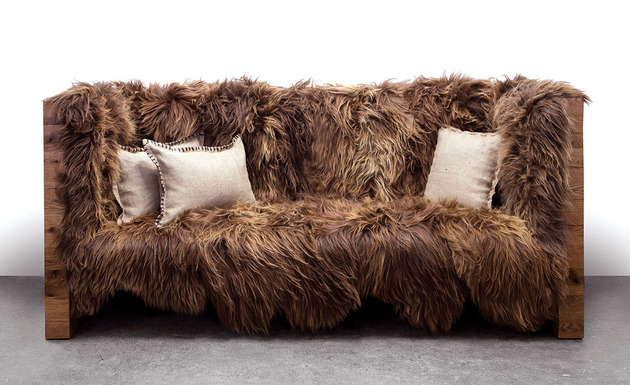 caressable snuggable sentient furniture 1 sofa thumb 630xauto 45691 Long Wool Icelandic Sheepskin Furniture by Sentient