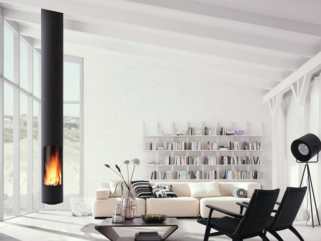 skinny suspended fireplace focus low environmental impact 1 thumb 630xauto 46578 Skinny Suspended Fireplace by Focus has Low Environmental Impact
