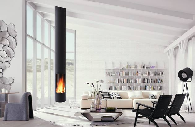 skinny suspended fireplace focus low environmental impact 2 thumb 630xauto 46580 Skinny Suspended Fireplace by Focus has Low Environmental Impact