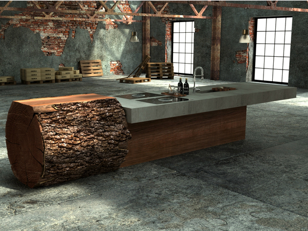 unique one off oak concrete kitchen werkhaus 1 thumb 630xauto 48428 Inspired Tree Trunk Kitchen by Werkhaus