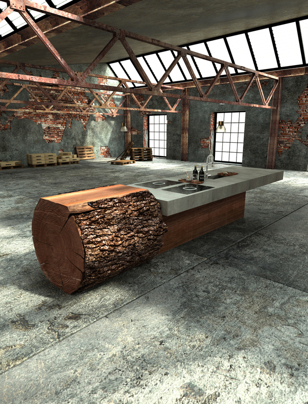 unique one off oak concrete kitchen werkhaus 2 thumb autox826 48430 Inspired Tree Trunk Kitchen by Werkhaus