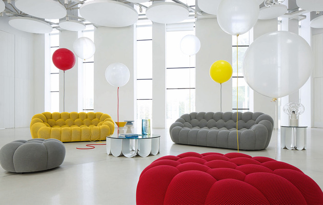 Large 3 seat sofa bubble by roche bobois for Canape roche bobois cuir