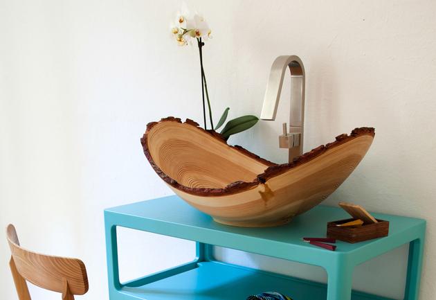 larch wood washbasin by slowwood 1 thumb 630xauto 53500 Larch Wood Washbasin by Slow Wood