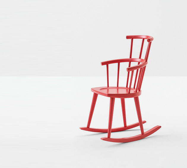 red rocker chair by Billiani in lacquered wood 1 thumb 630xauto 53861 Red Rocker Chair by Billiani in Lacquered Wood